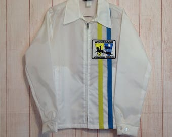 Vintage 70s Swingster White Winnebago International Travelers Windbreaker Jacket New Deadstock
