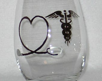 Stemless Wine Glass Medical Hand Painted