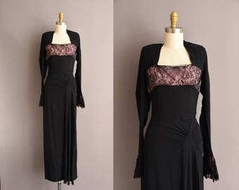 vintage 1940s black rayon crepe full length party dress Small Medium 40s pink lace cocktail dress