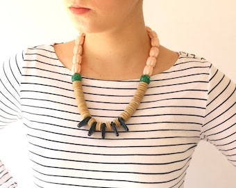 Casual Beaded Statement Necklace, black wood green and pink pastel beads, Unique jewelry for her One of a kind