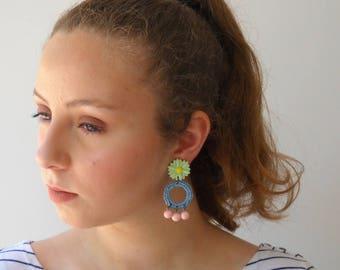 Pastel Summer Earrings, Hippie statement Earrings, Daisy flower long hoop earrings, green blue pink pastel unique jewelry for her