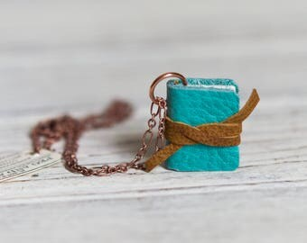 Book Necklace Blue, Mini Book Jewelry, Book Lover, Girlfriend Gift, Mom, Book Charm, Wife Home Decor Gift, Bookworm Gift, Gift for Her, Wood