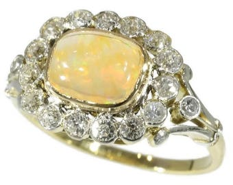 Fire opal diamond ring 18k yellow gold old European cut diamonds .60ct vintage engagement ring