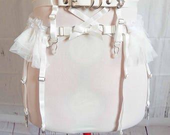 PRE-ORDER: White Faux Leather Frill Garter Belt, White Ruffle Garter Belt, White Faux Leather Garter Belt, White Burlesque Garter Belt