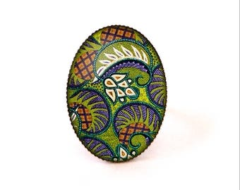 Cabochon ring • African wax • blue green glass brass