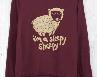 Cute Silk Screened Fleece Pullover - Sleepy Sheepy