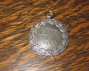 Antique Sterling Silver Medal Pendant Fob Full British Hallmarks
