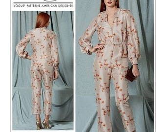 On Sale Vogue Jumpsuit Pattern V1523 by RACHEL COMEY - Misses' V-Neck, Bishop Sleeve Jumpsuit and Belt - Vogue American Designer Series