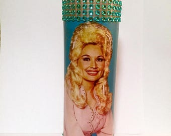Dolly Parton custom made pink and teal kitschy prayer candle