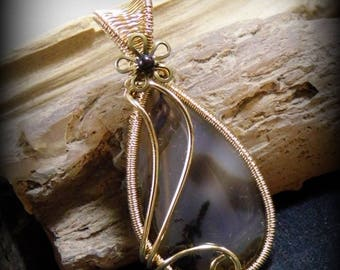 OOAK Montana Moss Agate Wire Wrapped Stone Brass Pendant