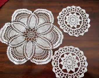 "3 vintage cotton round lace doilies- crocheted, 11"". 5.5"""