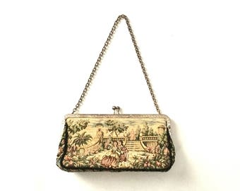 Tapestry clutch evening bag / Tapestry purse clutch with kiss lock closure gold chain handle