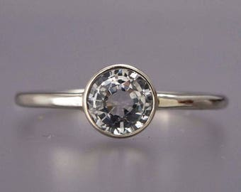 Moissanite Solitaire Engagement Ring in Hammered 14k White Gold - Ready to Ship in Size 6.5