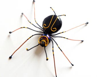 Large Black Copper Spider, Wire Art Spider, Unique Gift for the Spider Lover