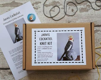 Jarvis Cockatiel knit kit all you need to knit a cute cockatiel  knitting kit gift with free button badge! Jarvis Cocker parrot