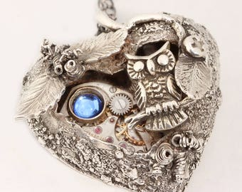 Silver Heart Necklace Steampunk Heart Necklace Fine Silver Necklace Steampunk Necklace Owl Necklace