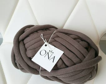 Chunky Cotton Tube yarn Vegan Wool Brown
