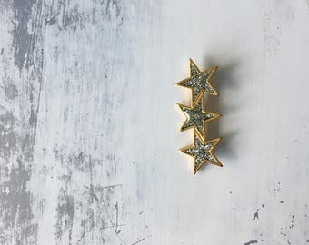 Silver Sparkle And Gold Vintage Brooch / Hair Clip / Coat Pin / Rockabilly Accessory / Pin Up Star Pin