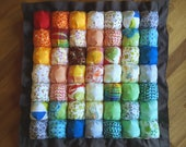 RESERVED FOR MARTA - Rainbow baby blanket in the same colors of the carpet in the picture
