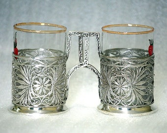 2 Traditional Russian Tea Glass Holders with Glasses