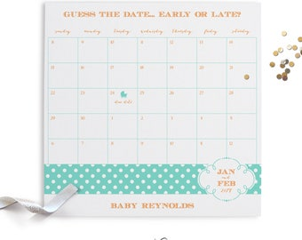 Baby Shower Calendar, Polka Dots, Guess the Date, Party Sign, Baby Shower, Baby Sprinkle, Printable Digital, PDF Customized File