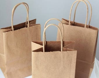 ON SALE Recycled Kraft Handle Bags Lot of 25  8x 5 1/4 x 3 1/2 inches-  As Seen In Better Homes and Gardens Food Gift Magazine