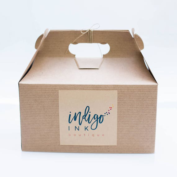 9.5 x 9 x 5  Kraft Natural Gable Gift Box lot of 6  w/ pinstripe texture