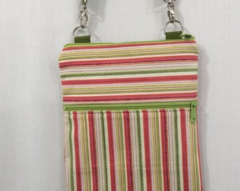 Cross Body Bag, Zippered Shoulder Purse, Sling Bag, Small Travel Purse, iPad Bag, Green and Pink Stripes