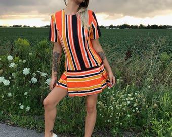 vintage 1960s romper orange black navy stripes mod groovy twiggy hippy psychedelic british vogue go go size medium