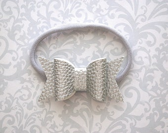 Faux Leather Baby Bow, Silver Faux Leather Bow, Faux Leather Bows, Faux Leather Bow Headband, Silver Baby Bow, Baby Headband, Toddler Bows