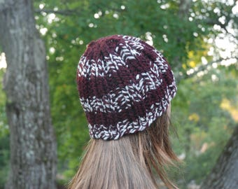 Crimson Red and White Hat, Crimson Hat, Slouch Hat, Winter Hat, Knit Hat, Slouchy Hat, Ski Hat, Women's Hat, Winter Hat, Knitted Hat