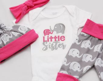 Little Sister Elephant, Newborn Coming Home Outfit, baby girl coming home outfit-Jersey knit Leggings, Knot Hat, headband and Shirt