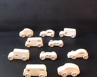 10 Handcrafted Wood Toy Cars, Pickup Campers, Vans OT-34 unfinished or finished