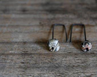 Leopard skin jasper - dangle earrings - oxidized sterling silver