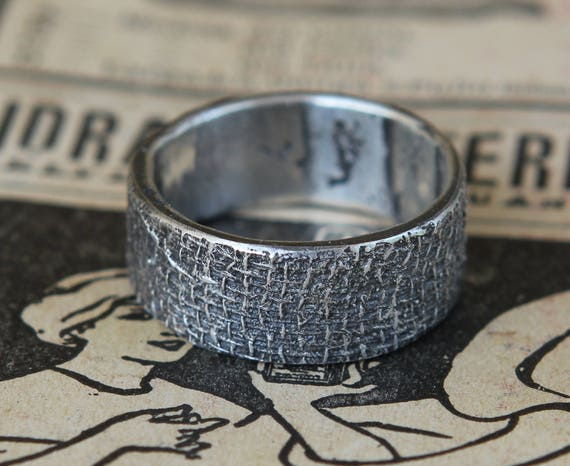 Wide Cigar Band Cloth Textile Hand Cast Sterling Silver Band Size 10.5