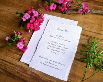 Wedding R.S.V.P. - Eco Chic Style -  DIY wedding R.S.V.P. -  4'' x 6'' (12 pieces) - Blank Handmade Paper