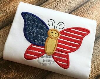 Patriotic Butterfly applique