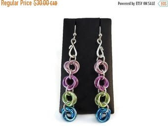 VACATION SALE Long Colorful Chainmail Earrings with Rosebuds, And Forever Earrings featuring Aluminum Love Knots, Bright Chainmaille Jewelry