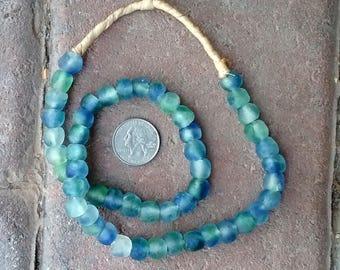 Ghana Glass Beads: Green/Blue 10mm