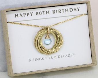 80th birthday gift for mother, December birthday gift 80th, December birthstone jewellery, 80th necklace - Lilia