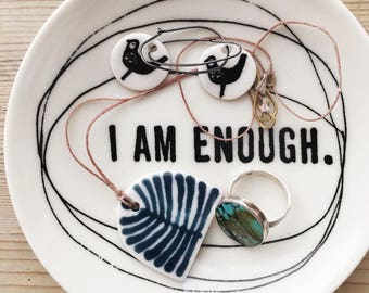 porcelain dish screenprinted text i am enough concentric circles