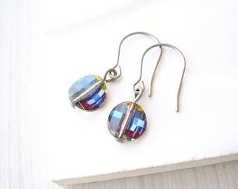 Dainty Drop Earrings, Simple Jewelry, Blue, Multicolor, Minimalist, Nickel Free Titanium, Dangle, Swarovski Crystal, Clip On, Purple