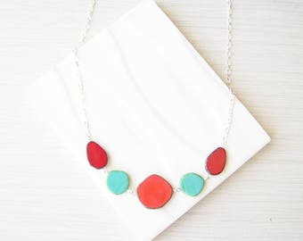 Turquoise Bib Necklace, Coral Orange Geometric Jewelry, Multicolor,  Red, Czech Glass, Nickel Free Colorful, Sterling Silver Option