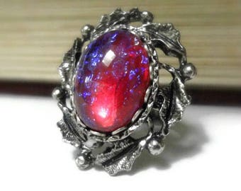 Gothic Fire Opal Ring - Gothic Jewelry - Victorian Jewelry - Goth Jewelry - Neo Victorian - Renaissance - Medieval - Fantasy - Cosplay