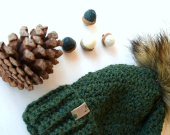 ASPEN Beanie In Forest Green with Faux Fur Pom Pom, Wool, Green, MMIM, Handmade, Crochet, Winter Hat, Kids, Women, Crocheted