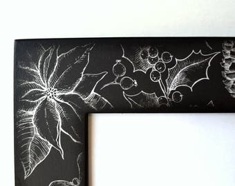 Holiday Botanical  Wood Picture Frame, 5 x 7 Photo Frame, Photo Frames, Wall hanging, Modern, Christmas, Holly, Black and White, Apartment