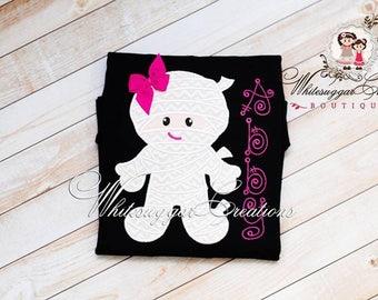 Baby Girl Halloween Girl Mummy Shirt - Newborn Halloween Custom Shirt - Personalized Halloween Shirt - Girls Halloween Outfit