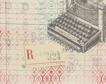 Correspondence by Tim Holtz for Coats - Full or Half Yard Eclectic Elements Typo - Neutral - Vintage Typewriters and Type on Cream with Red