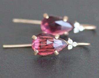 Pink Tourmaline Teardrop / Pear Earrings in 14K Yellow Gold with White Topaz Accents - 7x11mm Natural Rose Cut Gemstone - OOAK