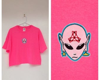 SALE Handmade Neon Pink Embroidered Alien Patch Crop Top